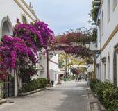 与曲拱的九重葛在Puerto在大加那利岛的de Mogan的花卉大道 库存照片