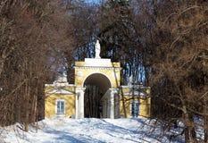 与曲拱的结构在结构树之中在冬天 免版税图库摄影