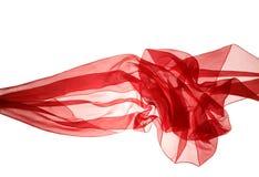与曲线和波浪的软的红色薄绢 免版税库存图片