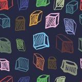 与曲线立方体的无缝的纹理 免版税图库摄影