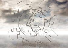 与曲线锯的乱画的云彩 免版税库存图片