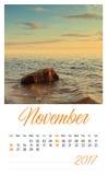 2017年与最低纲领派风景的照片日历 11月 免版税图库摄影
