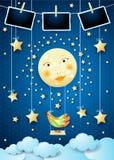 与月亮、摇摆、鸟和相框的超现实的夜 向量例证