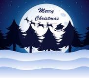 与月亮、杉树和驯鹿的圣诞节模板在a 免版税库存照片