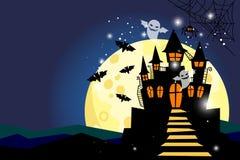 与月亮和城堡的万圣夜背景 向量例证