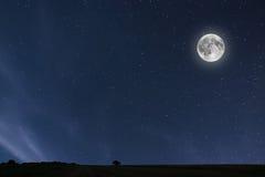 与月亮和星形的夜空背景 满月背景 免版税库存照片