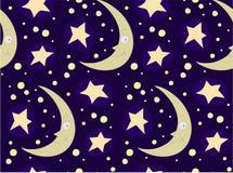 与月亮和星的传染媒介无缝的样式 免版税库存照片