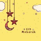 与月亮和星的贺卡Eid庆祝的 皇族释放例证