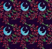 与月亮和莓果的水彩假日例证无缝的样式 冬天新年题材 库存例证