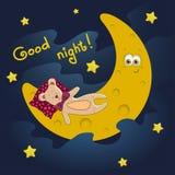 与月亮和逗人喜爱的女用连杉衬裤的晚上好卡片 也corel凹道例证向量 免版税库存图片