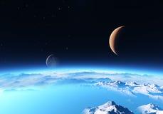 与月亮的冰行星 图库摄影