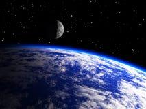 与月亮的地球行星 免版税库存照片