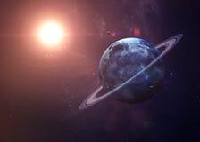 与月亮的天王星从显示所有他们的空间 库存图片