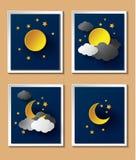 与月亮的抽象纸天气在黄昏 免版税库存图片