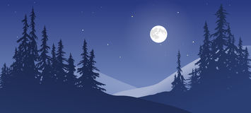 与月亮的斯诺伊风景 库存图片