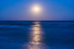 与月亮的晚上横向 免版税库存图片