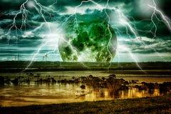 与月亮的闪电风暴 库存照片
