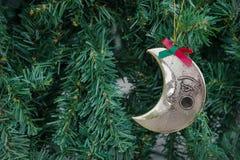 与月亮装饰品垂悬的圣诞节绿色背景,被过滤 库存照片
