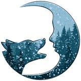 与月和冬天森林的狼 库存图片