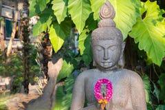 与月桂树的菩萨雕象在Wat Thamai (公开地点) 免版税库存图片