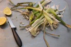与有一点种大蒜和柠檬准备的烤辣椒粉 免版税库存照片