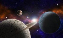 与有些行星的虚构的空间风景在太阳syst 免版税库存图片