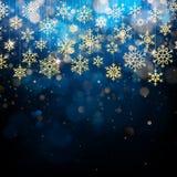与有叶形装饰的金雪剥落的圣诞卡片 在蓝色冬天背景的金黄装饰 10 eps 库存例证