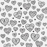 与有花边的心脏的装饰无缝的样式 免版税库存图片