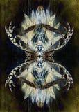与有角的鹿动机和羽毛的装饰神圣的艺术构成 向量例证