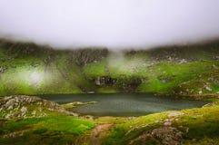 与有雾的山的难以置信的风景 免版税图库摄影