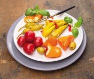 与服务叉子的意大利开胃小菜菜 免版税图库摄影