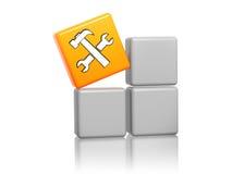 与服务符号的橙色多维数据集在配件箱 免版税库存图片