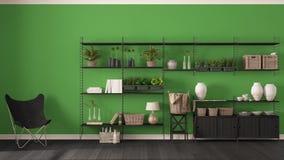 与木书架的Eco绿色室内设计, diy垂直ga 图库摄影