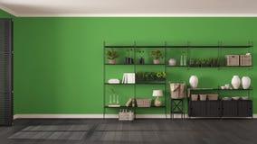 与木书架, diy ve的Eco灰色和绿色室内设计 免版税库存图片