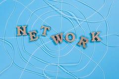 与木信件的词网络以一个抽象蜘蛛网的形式 库存图片
