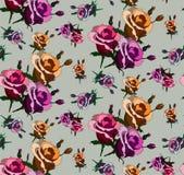 与木兰摘要的无缝的样式在黑色开花 库存照片