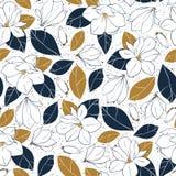 与木兰的植物的无缝的样式在深刻的蓝色和芥末颜色开花,发芽并且离开 向量手拉的例证 库存图片