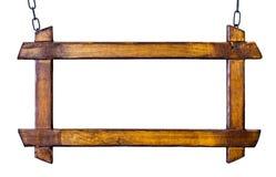 与木制框架的葡萄酒whiteboard在白色 免版税库存照片