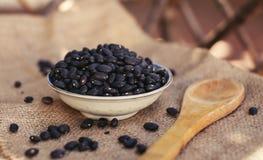 与木匙子的有机黑豆自然蛋白质 库存图片