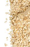 与木匙子的玉米片在白色背景 库存照片