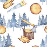 与木匠业工具的无缝的样式 水彩轴、木柴和树 行业仪器 人` s工作 库存照片