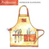 与木匠工具的手画皮革围裙 库存图片