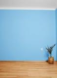 与木地板、花和蓝色墙壁的空的内部 免版税库存图片