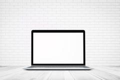 与木地板和便携式计算机大模型,介绍的, 3D空的抽象背景的白色砖墙纹理 库存图片