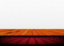 与木地板和扶手椅子的剧院或戏院阶段 向量 免版税库存照片