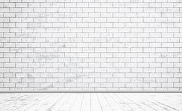 与木地板的长方形白色砖墙纹理 也corel凹道例证向量 库存例证