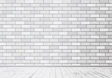 与木地板的长方形白色砖墙纹理 也corel凹道例证向量 向量例证