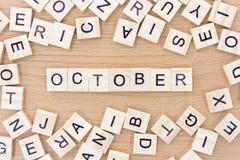 与木块的10月词 免版税库存图片