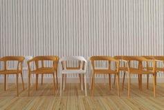 与木墙壁背景3d翻译的木椅子 库存照片