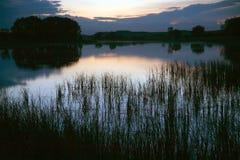 与木头的镇静池塘表面在与黎明和雾的好的日出 库存图片
